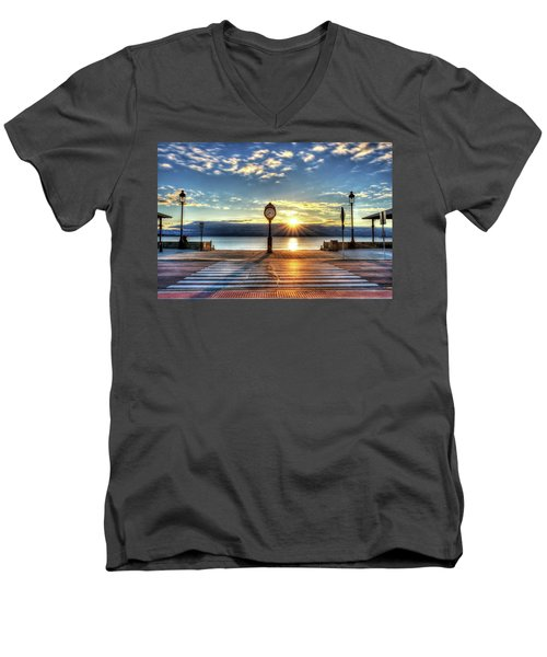 Revere Beach Clock At Sunrise Angled Long Shadow Revere Ma Men's V-Neck T-Shirt