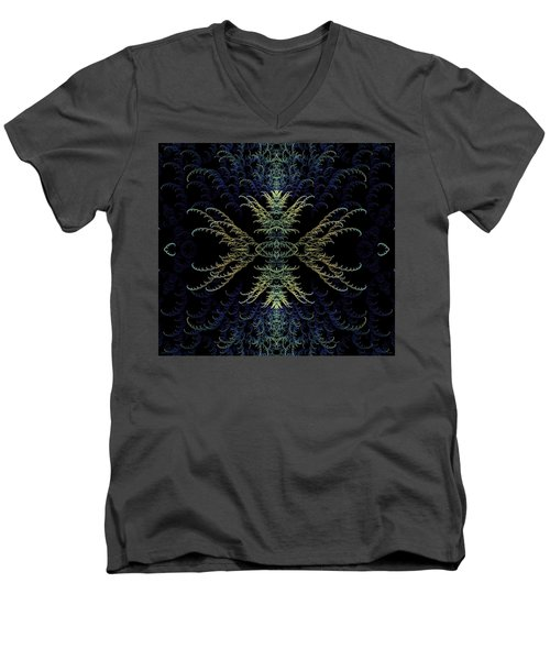Men's V-Neck T-Shirt featuring the digital art Rhapsody In Blue And Gold by Lea Wiggins