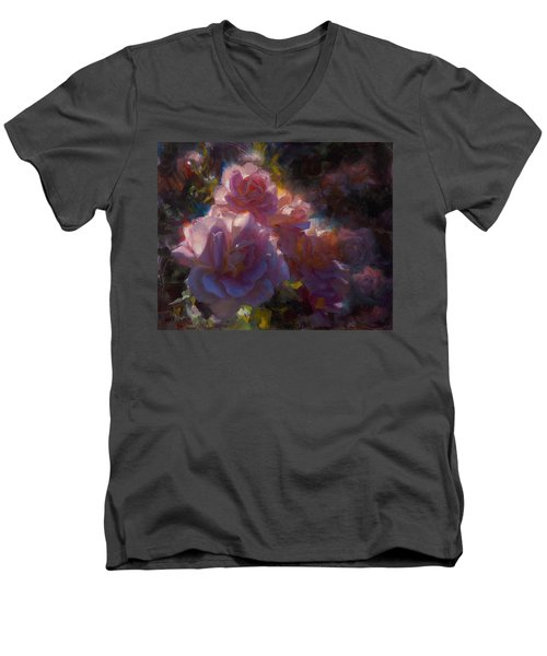 Men's V-Neck T-Shirt featuring the painting Rhapsody Roses - Flowers In The Garden Painting by Karen Whitworth