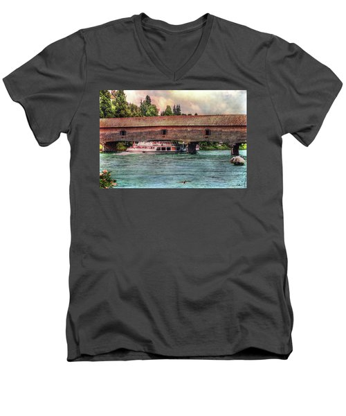 Men's V-Neck T-Shirt featuring the photograph Rhine Shipping by Hanny Heim