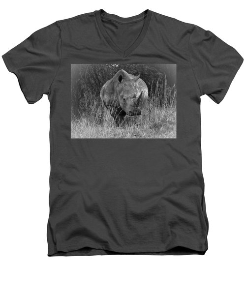 Rhino Men's V-Neck T-Shirt by Patrick Kain