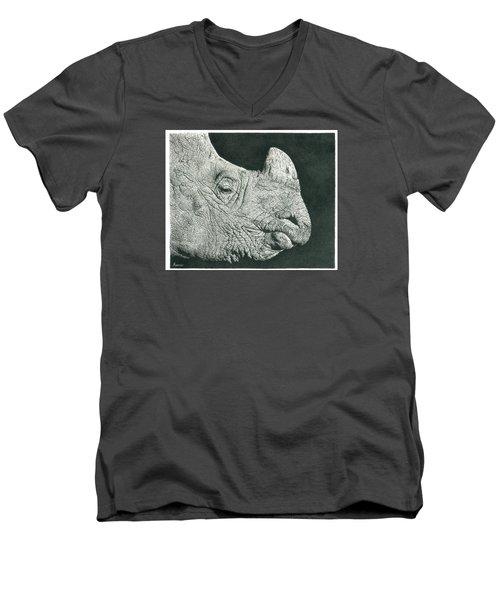 Rhino Pencil Drawing Men's V-Neck T-Shirt