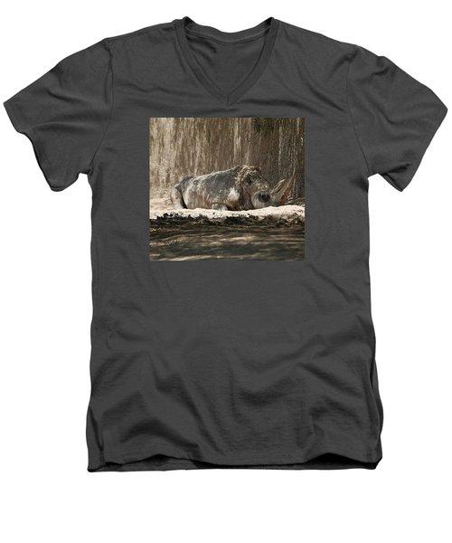 Men's V-Neck T-Shirt featuring the digital art Rhino by Walter Chamberlain