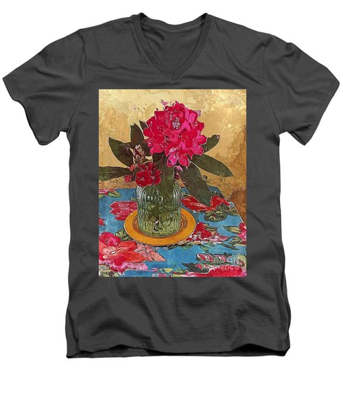 Men's V-Neck T-Shirt featuring the digital art Rhododendron by Alexis Rotella