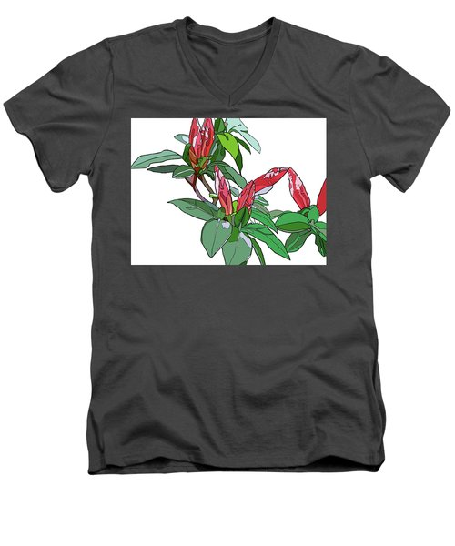 Rhododendron Buds Men's V-Neck T-Shirt by Jamie Downs