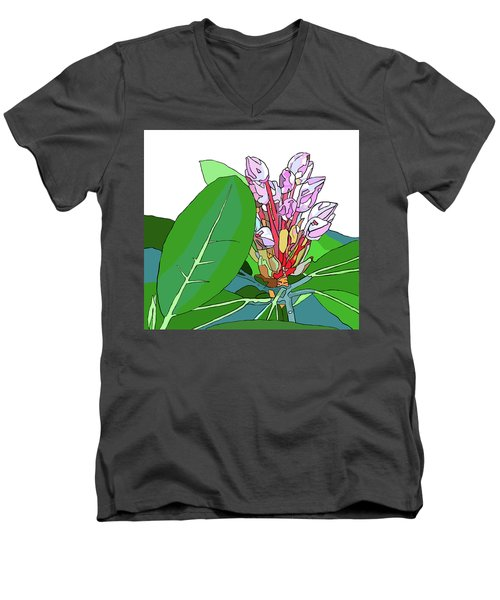 Rhododendron Graphic Men's V-Neck T-Shirt by Jamie Downs
