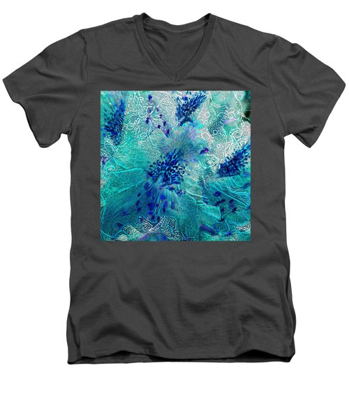 Rhododendron Turquoise Lace Men's V-Neck T-Shirt