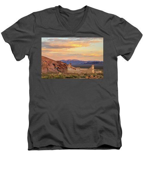 Men's V-Neck T-Shirt featuring the photograph Rhyolite Bank At Sunset by James Eddy