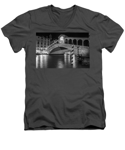 Rialto Bridge Black And White  Men's V-Neck T-Shirt