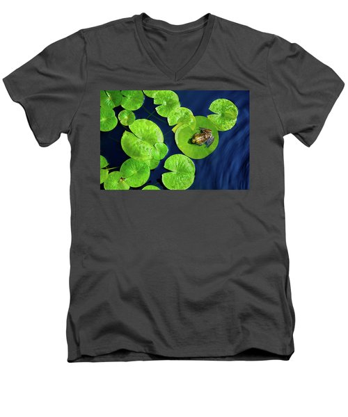 Men's V-Neck T-Shirt featuring the photograph Ribbit by Greg Fortier