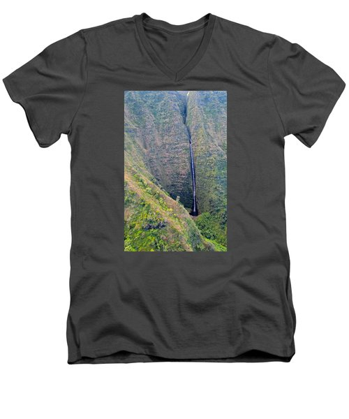 Men's V-Neck T-Shirt featuring the photograph Ribbon Falls On The Napali Coast by Brenda Pressnall