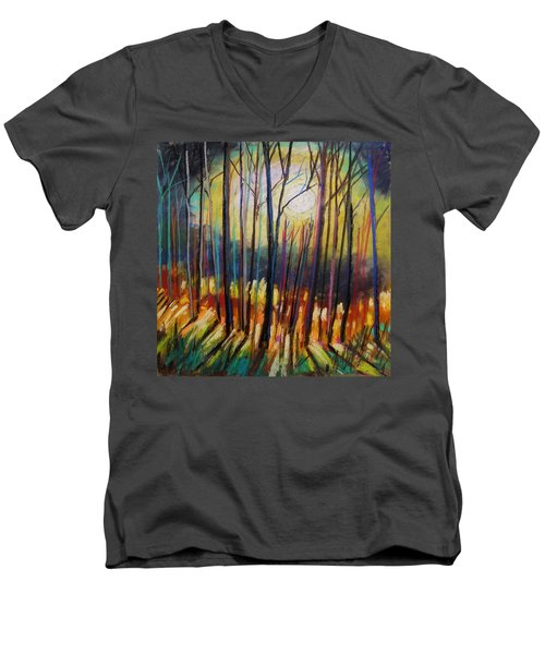 Men's V-Neck T-Shirt featuring the painting Ribbons Of Moonlight by John Williams