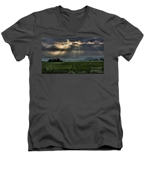 Rice Fields Rays Light  Men's V-Neck T-Shirt by Chuck Kuhn