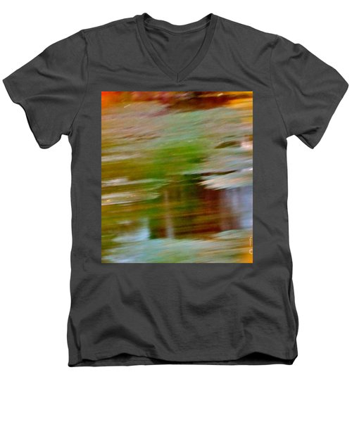 Men's V-Neck T-Shirt featuring the digital art Rice Lake by Patricia Schneider Mitchell