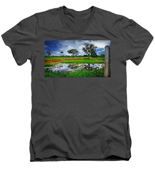Rice Paddy View Men's V-Neck T-Shirt by Ian Gledhill