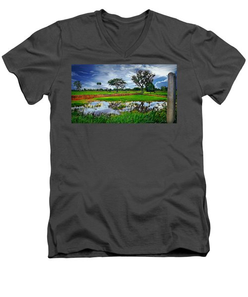 Rice Paddy View Men's V-Neck T-Shirt