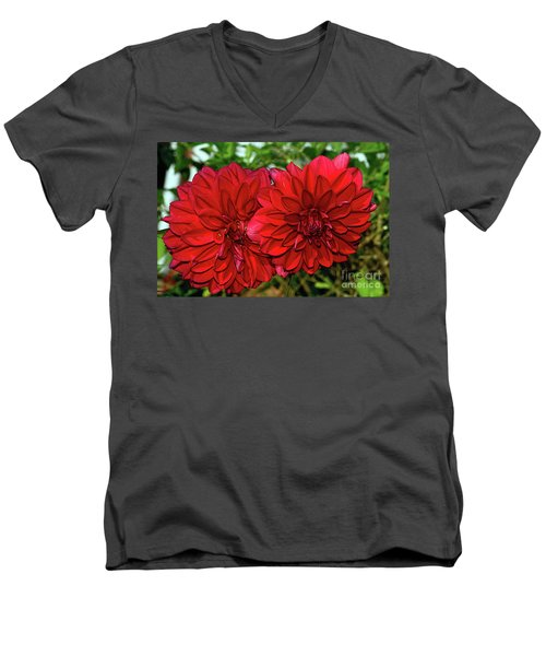 Men's V-Neck T-Shirt featuring the photograph Rich Red Dahlias By Kaye Menner by Kaye Menner
