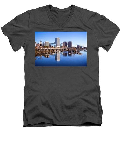 Men's V-Neck T-Shirt featuring the photograph Richmond Va Riverview by Alan Raasch