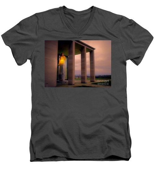 Men's V-Neck T-Shirt featuring the photograph Richmond Virginia War Memorial by Melissa Messick
