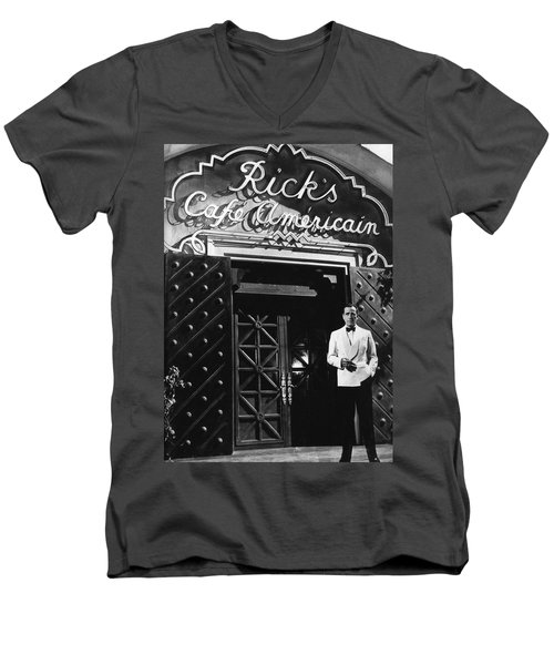Ricks Cafe Americain Casablanca 1942 Men's V-Neck T-Shirt by David Lee Guss