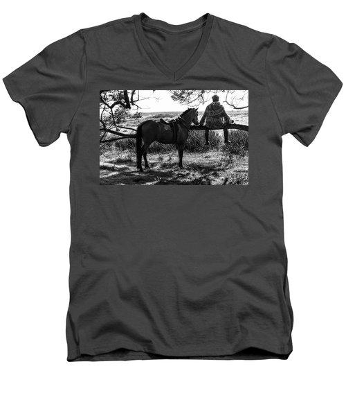 Rider And Horse Taking Break Men's V-Neck T-Shirt