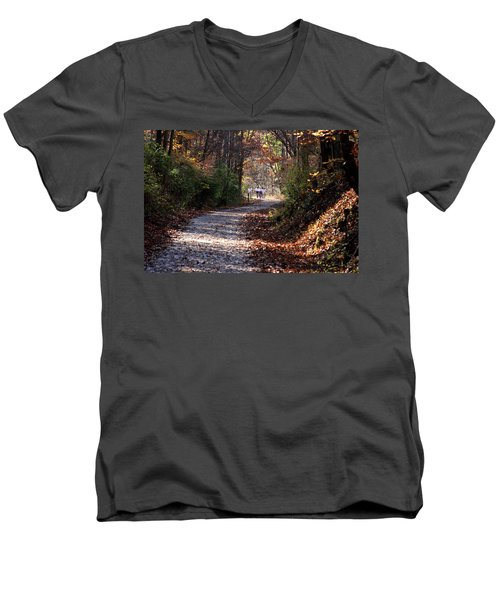 Riding Bikes On Park Trail In Autumn Men's V-Neck T-Shirt by Emanuel Tanjala