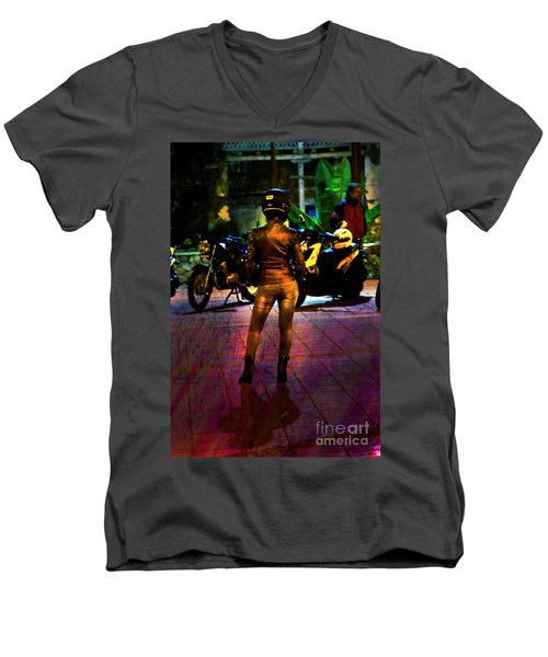 Men's V-Neck T-Shirt featuring the photograph Riding Companion II by Al Bourassa