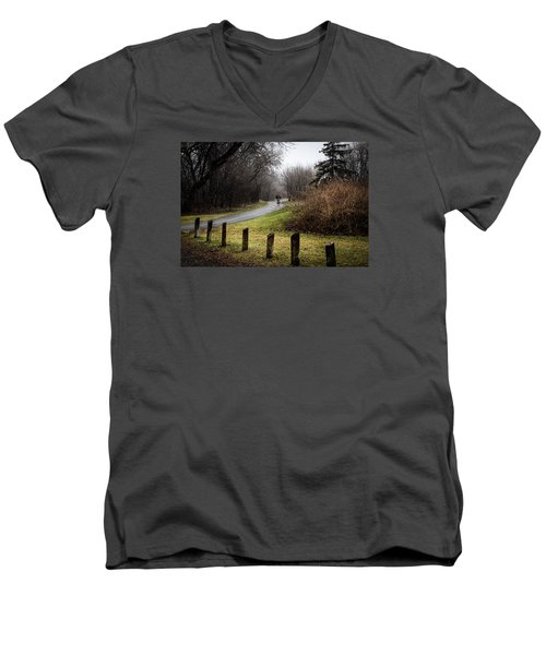 Riding Into The Fog Men's V-Neck T-Shirt
