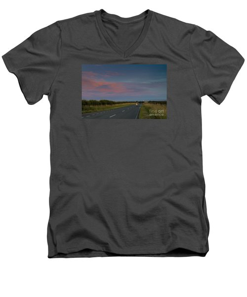 Riding Into The Sunset Men's V-Neck T-Shirt by David  Hollingworth