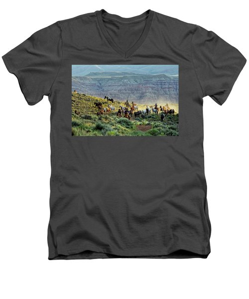 Riding Out Of The Sunrise Men's V-Neck T-Shirt
