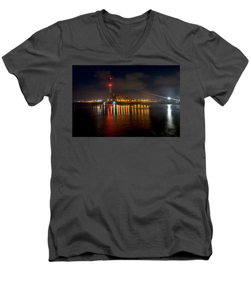 Men's V-Neck T-Shirt featuring the photograph Riding Station, Tel Aviv, Water Side by Dubi Roman