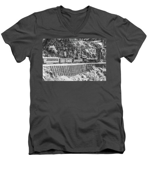 Men's V-Neck T-Shirt featuring the photograph Riding The Edge by Colleen Coccia