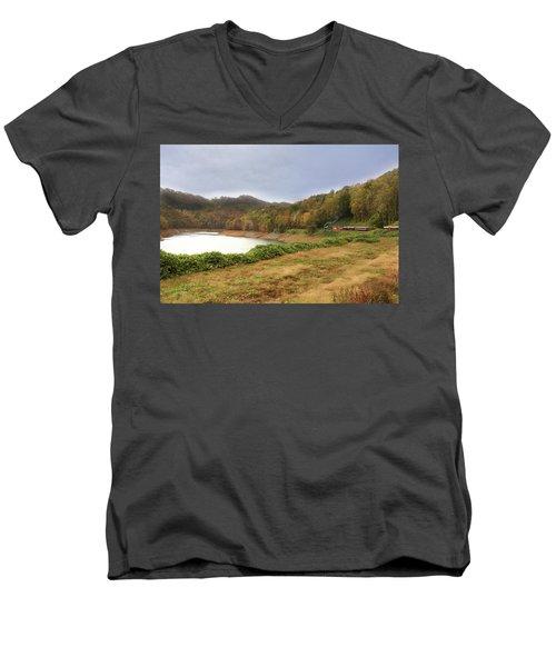 Men's V-Neck T-Shirt featuring the digital art Riding The Rails by Sharon Batdorf