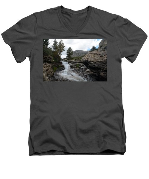 Right Fork Waterfall Men's V-Neck T-Shirt by Jenessa Rahn