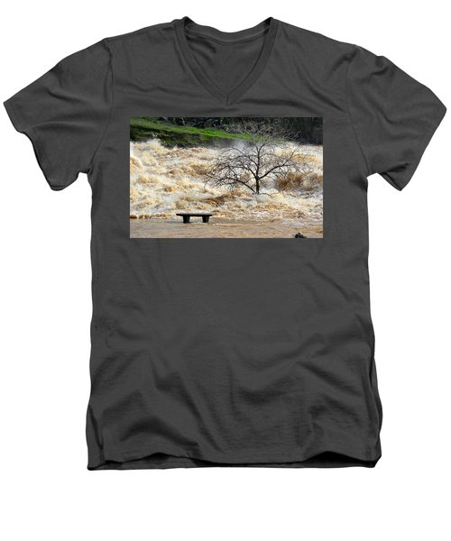 Men's V-Neck T-Shirt featuring the photograph Ringside Seat by AJ Schibig
