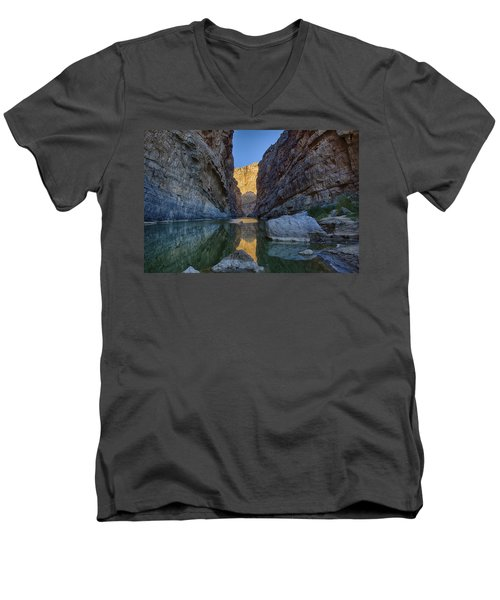 Men's V-Neck T-Shirt featuring the tapestry - textile Rio Grand - Big Bend by Kathy Adams Clark