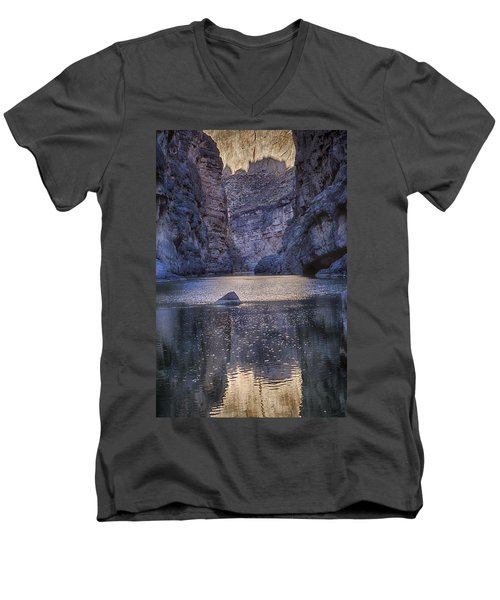 Men's V-Neck T-Shirt featuring the tapestry - textile Rio Grand, Santa Elena Canyon Texas by Kathy Adams Clark
