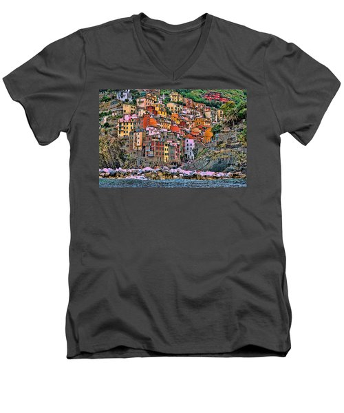 Men's V-Neck T-Shirt featuring the photograph Riomaggiore by Allen Beatty