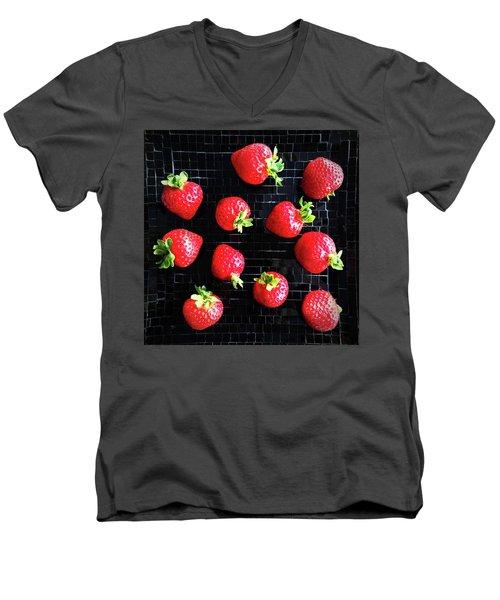 Ripe Strawberries On Back Plate Men's V-Neck T-Shirt by GoodMood Art
