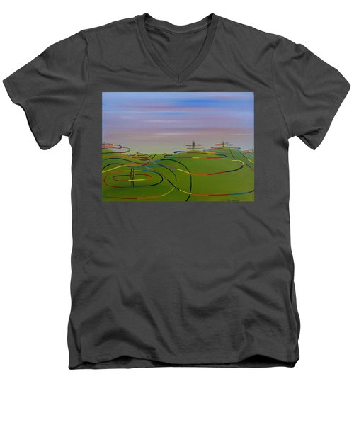 Men's V-Neck T-Shirt featuring the painting Ripples Of Life 1.2 by Tim Mullaney