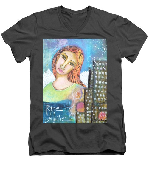 Men's V-Neck T-Shirt featuring the painting Rise Above Because You Are An Angel by Prerna Poojara