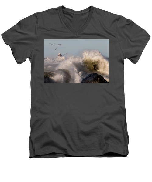 Men's V-Neck T-Shirt featuring the photograph Rise Above The Turbulence by Everet Regal