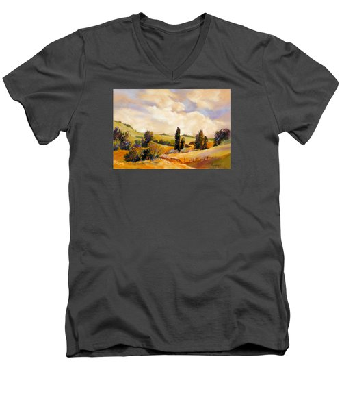 Men's V-Neck T-Shirt featuring the painting Rising Heat by Rae Andrews