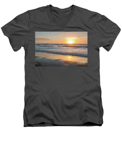 Rising Sun Reflecting On Wet Sand With Calm Ocean Waves In The B Men's V-Neck T-Shirt