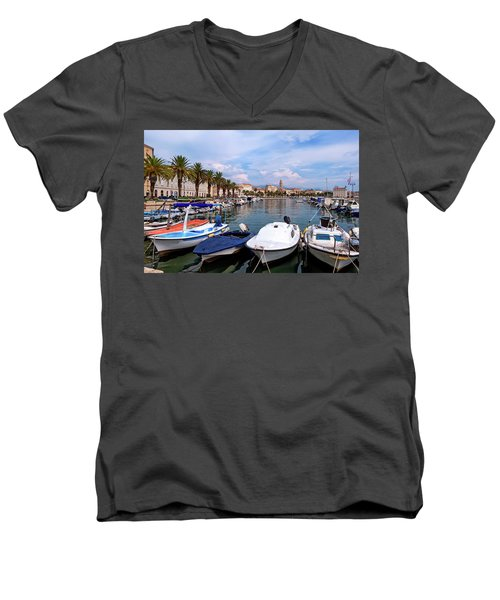 Riva Waterfront, Houses And Cathedral Of Saint Domnius, Dujam, Duje, Bell Tower Old Town, Split, Croatia Men's V-Neck T-Shirt by Elenarts - Elena Duvernay photo
