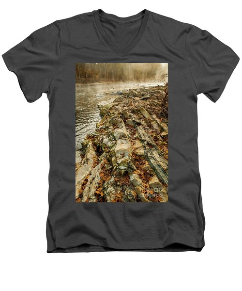 Men's V-Neck T-Shirt featuring the photograph River Bank by Iris Greenwell
