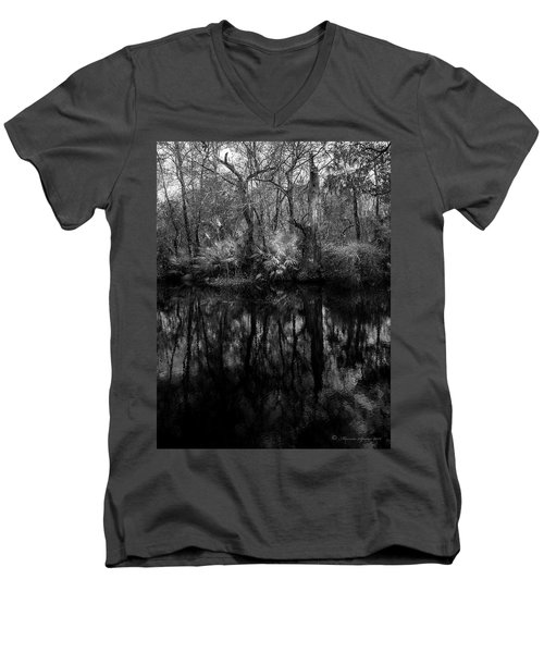 River Bank Palmetto Men's V-Neck T-Shirt by Marvin Spates