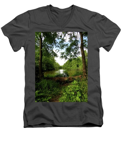 Men's V-Neck T-Shirt featuring the photograph River Bend Seating by Kimberly Mackowski