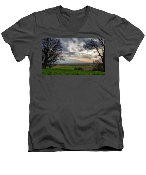 Men's V-Neck T-Shirt featuring the photograph River Forth View From Clackmannan Tower by Jeremy Lavender Photography