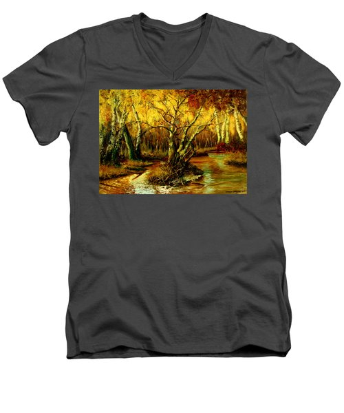 Men's V-Neck T-Shirt featuring the painting River In The Forest by Henryk Gorecki